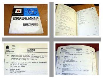 IHC 554 644 744 844 Schlepper Richtzeitenliste 1974 Arbeitszeitwerte