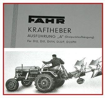 Fahr D12 bis D22 PH Kraftheber Betriebsanleitung