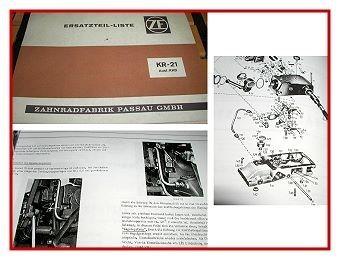 ZF KR21 KR-21 Regelkraftheber Ersatzteilliste Bedienung Wartung