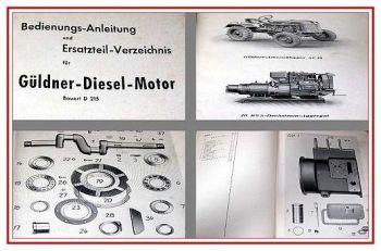 Güldner D215 Dieselmotor Bedienungsanleitung & ETL 1958