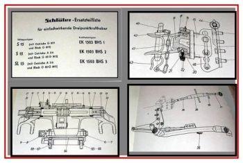Schlüter S15, SL15 Ersatzteilliste Kraftheber1963