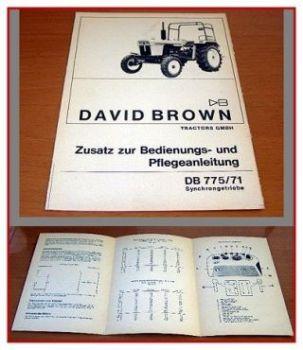 David Brown 775/71 Synchrongetriebe Zusatzanleitung