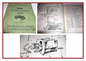 Bautz AS 120 Dieselschlepper 14 PS Ersatzteilliste 1954