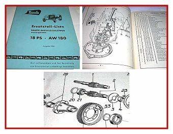 Bautz AW 180 Dieselschlepper Ersatzteilliste 1956
