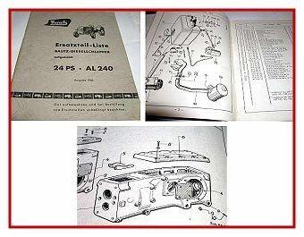 Bautz AL 240 Dieselschlepper Ersatzteilliste 1956